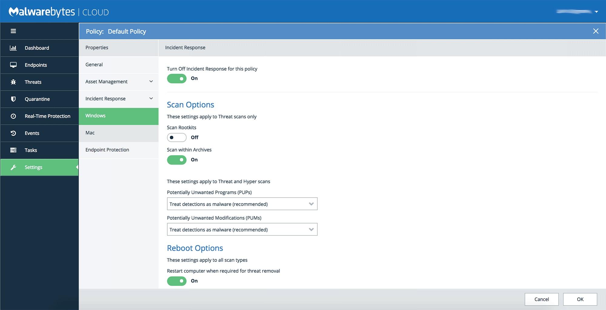 Plataforma en la nube Malwarebytes: Configuración de directivas