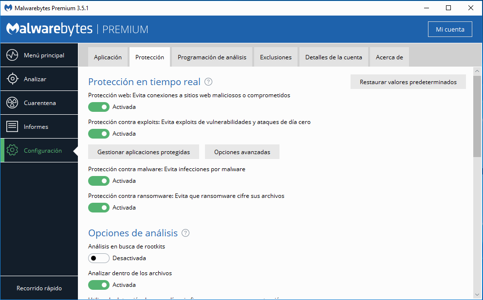 Malwarebytes Premium Scan Methods screenshot
