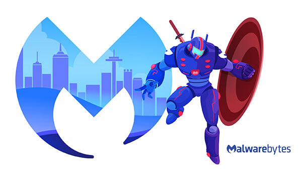 Robot leaping on the right of a Malwarebytes logo holding a shield on its side and katana on its back