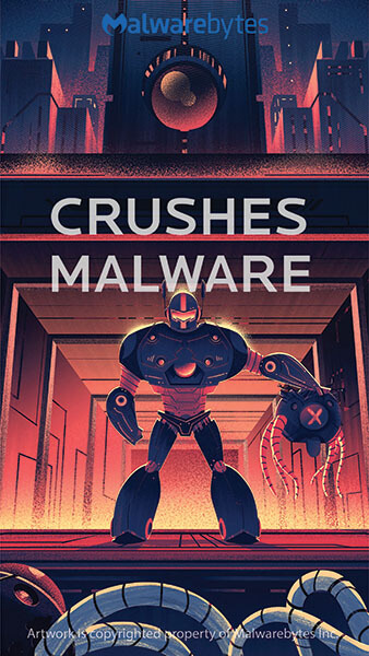 Robot in front of buildings holding a defeated malware ready to crush more oncoming malware with